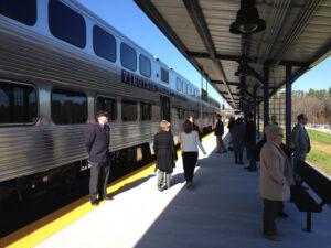 Passengers at VRE rail station, Spotsylvania County, VA
