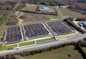 Aerial view of VRE rail station, Spotsylvania County, VA