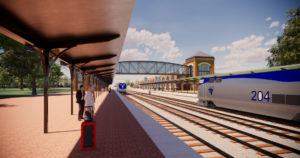 Claymont Regional Transportation Center Rending of Rail Station