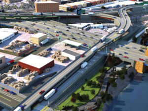 Proposed Hunts Point improvements, looking northwest