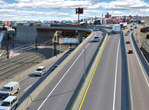 Proposed Hunts Point improvements, looking south